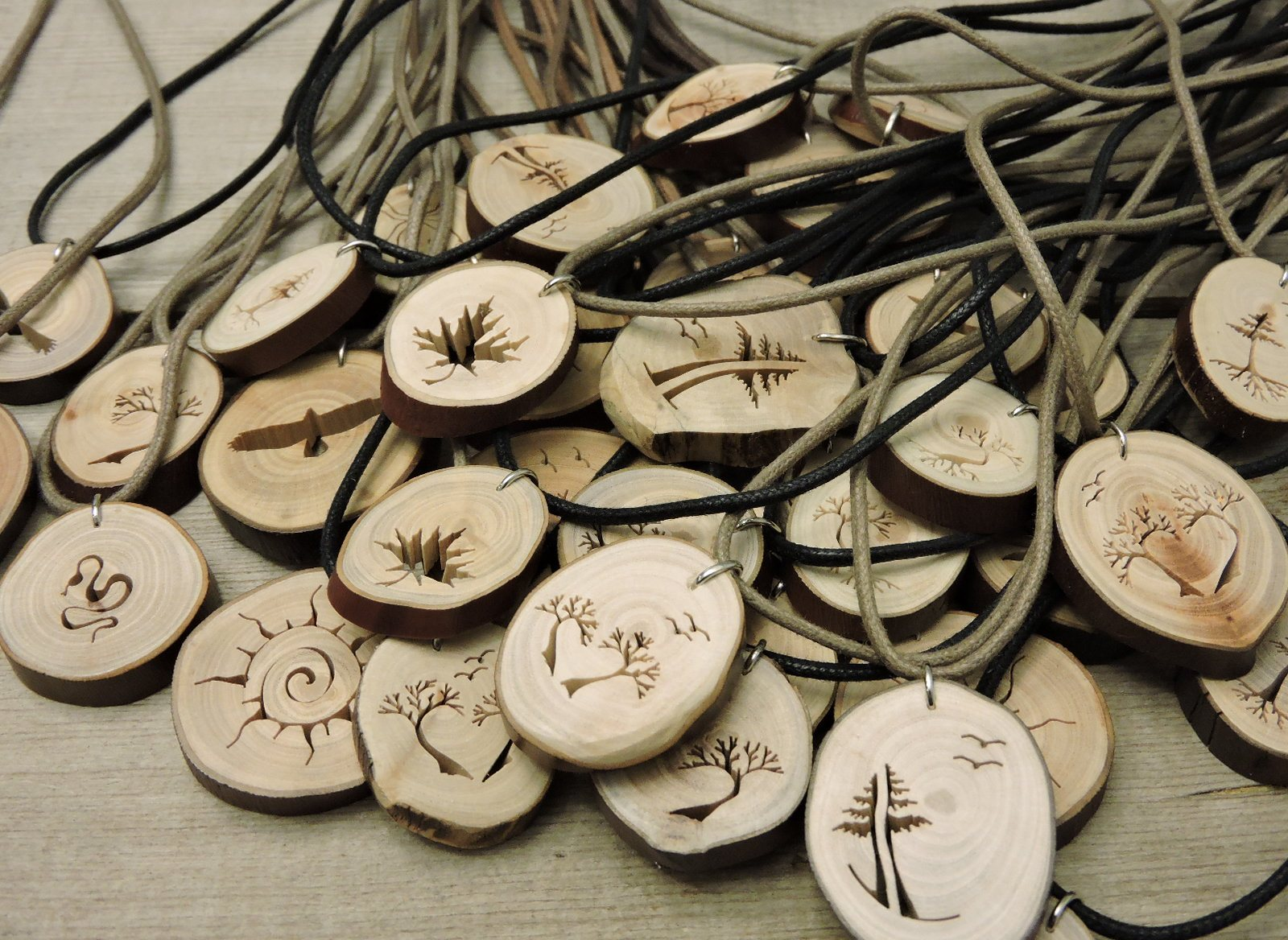 Rustic wood pendants heartwood gifts vancouver canada rustic wood pendant evergreen tree with roots and birds aloadofball Image collections